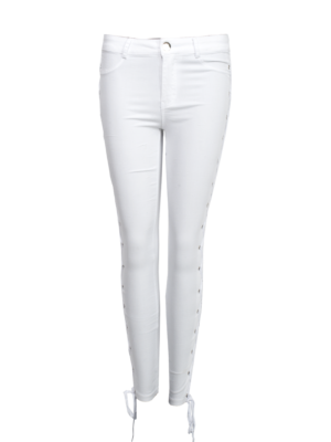 witte jeans lace up