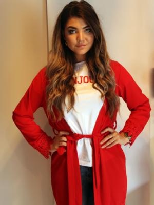 rood vest halflang met kant ibiza stijl