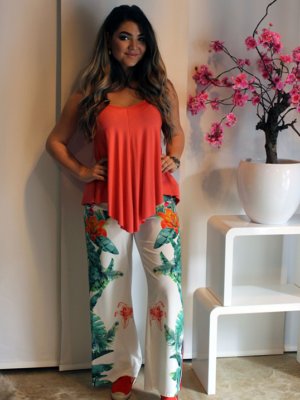 broek bloemenprint groen oranje