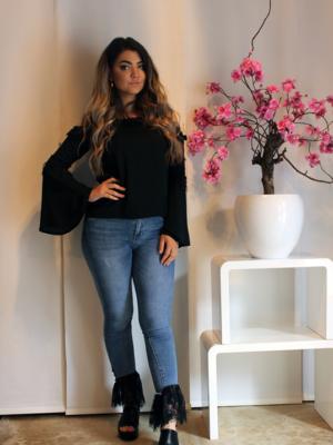 jeans franje spijkerbroek met zwart en blauw